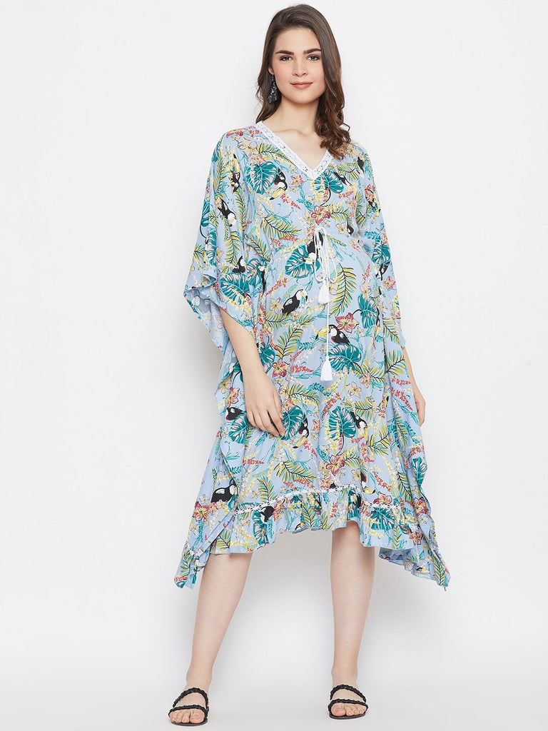 TROPICAL PRINT MATERNITY KAFTAN DRESS