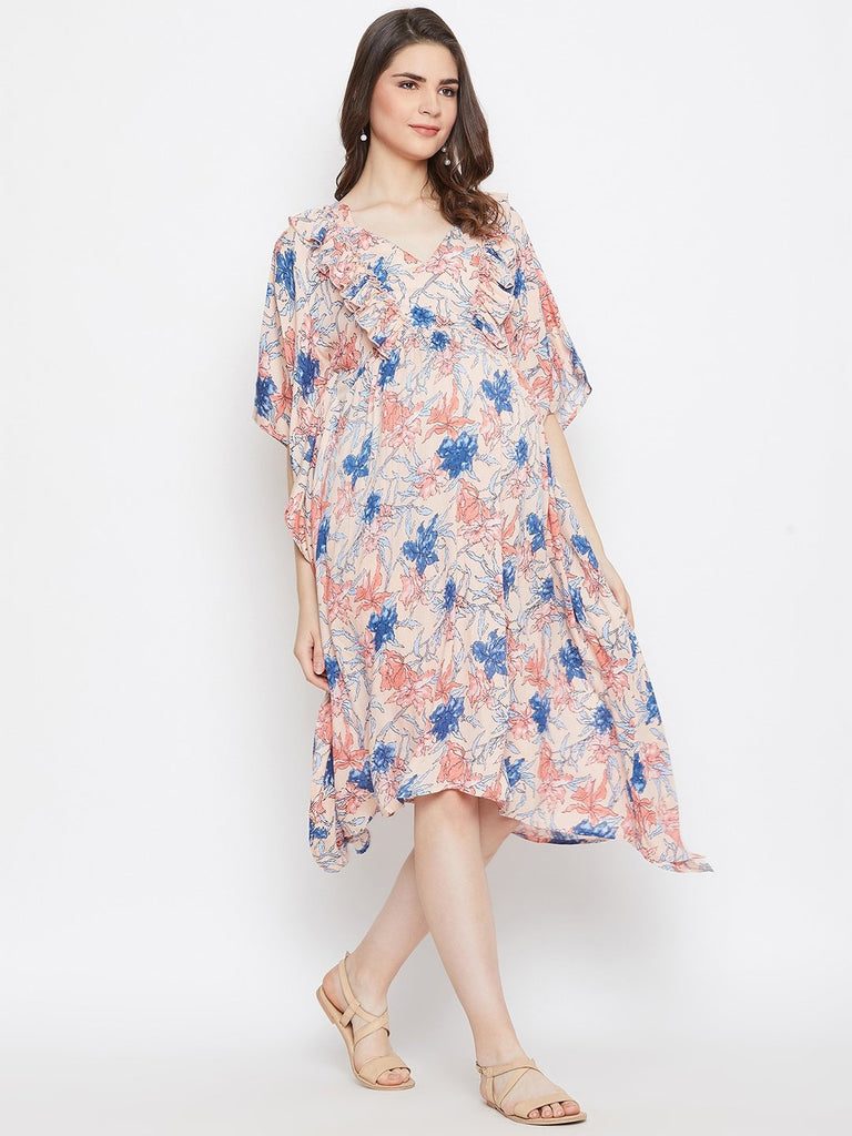 PEACH FLORAL MATERNITY KAFTAN DRESS WITH NURSING SLIT