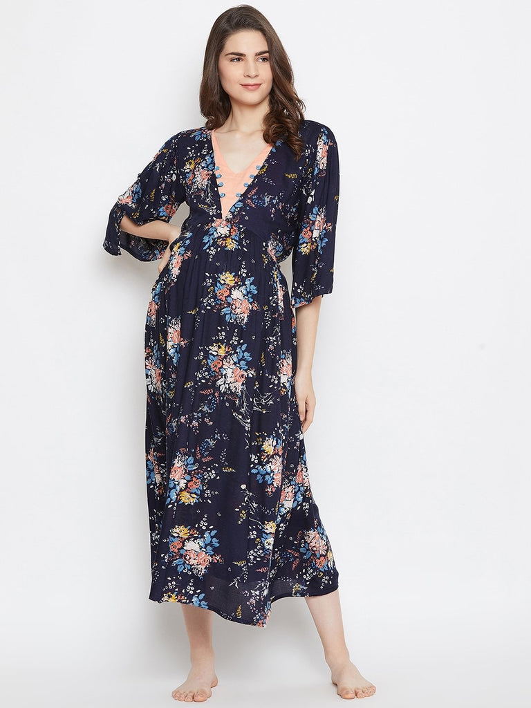 NAVY BLUE MATERNITY KAFTAN DRESS WITH NURSING SLIT