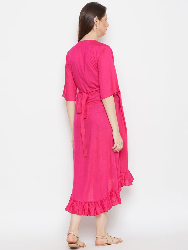 MAGENTA SOLID MATERNITY WRAP DRESS