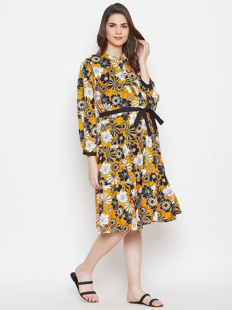 MUSTARD FLORAL MATERNITY WRAP DRESS