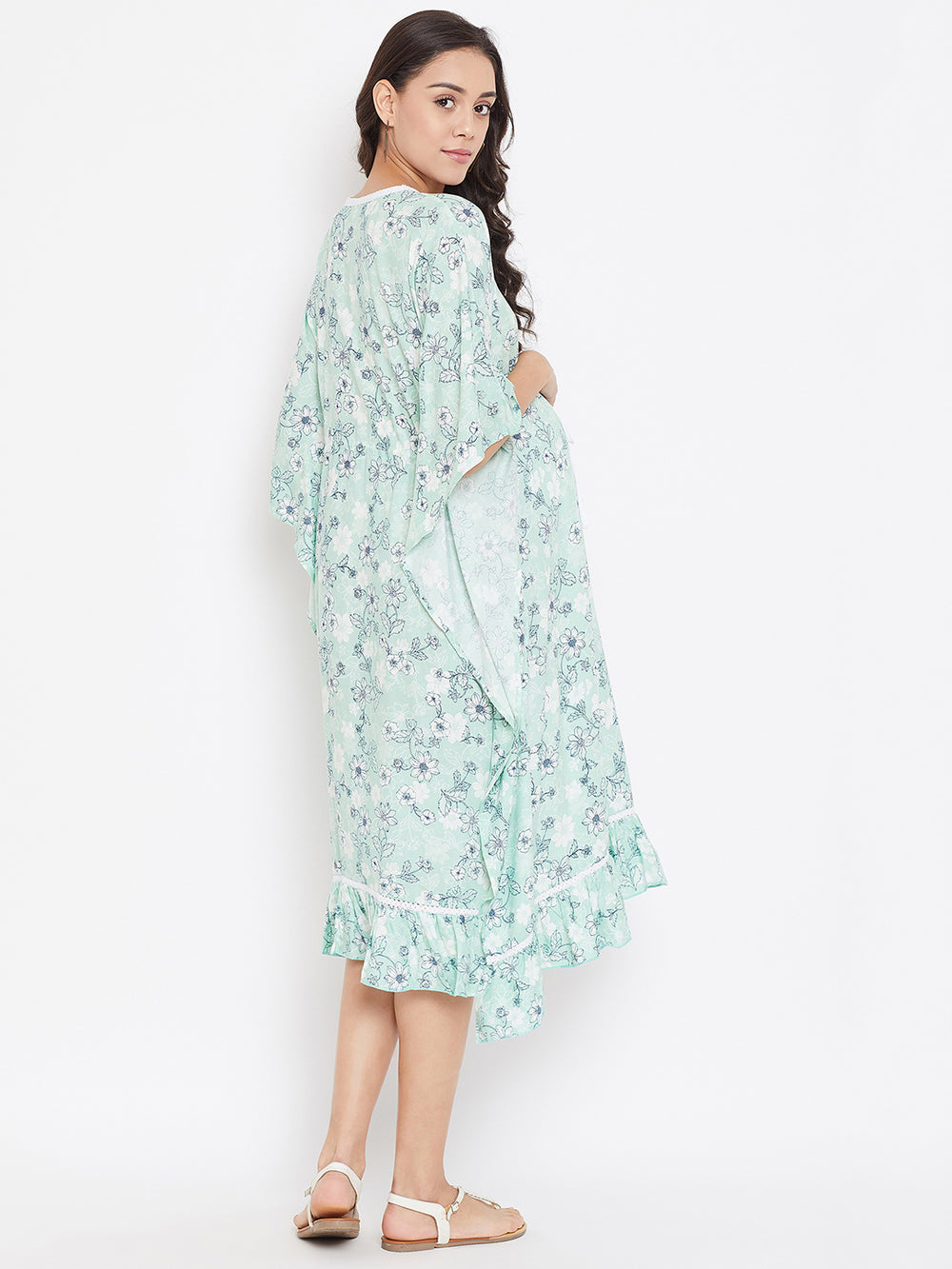 MINT BLOOMS MATERNITY KAFTAN DRESS