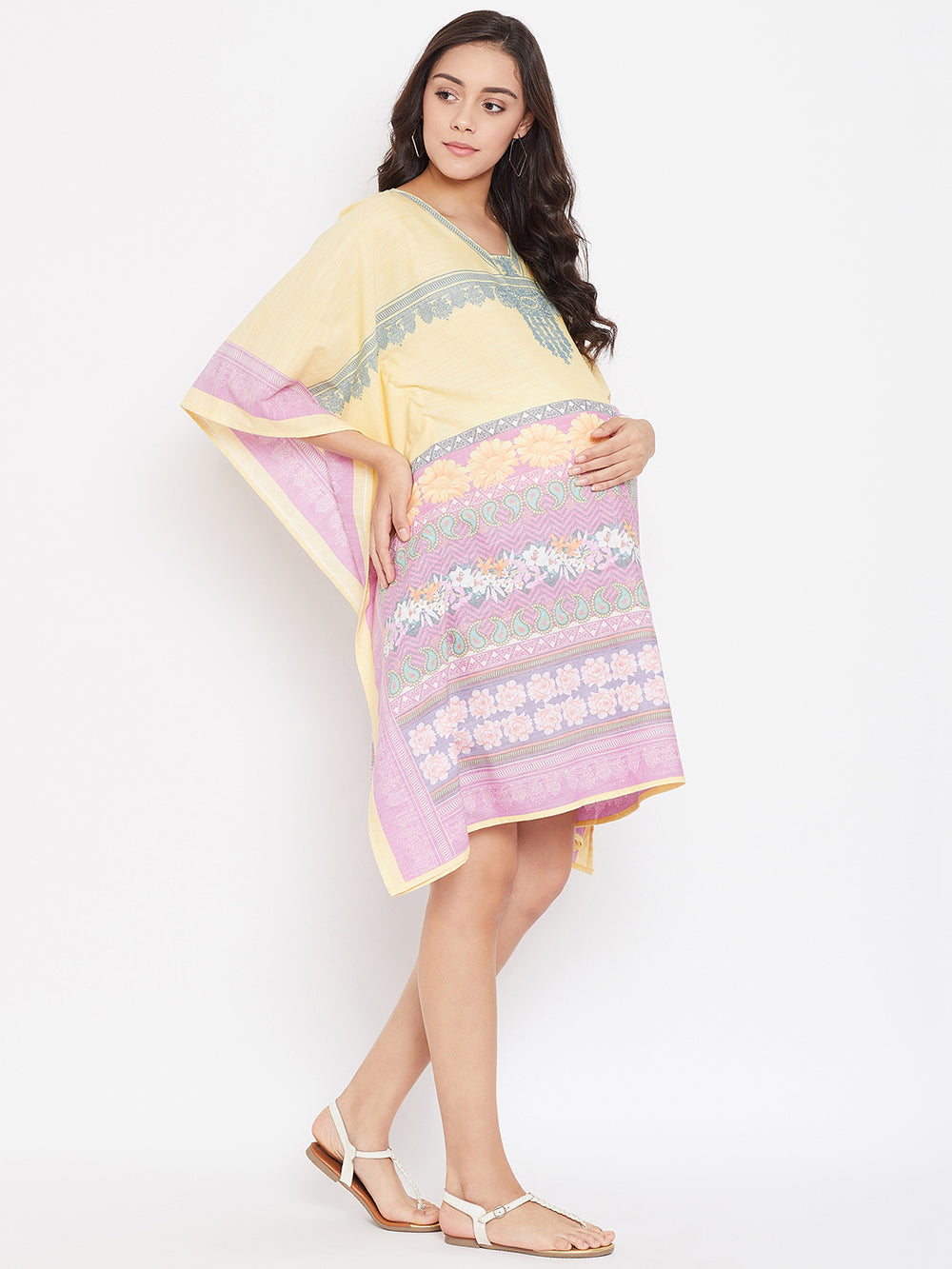 YELLOW PRINTED MATERNITY KAFTAN DRESS