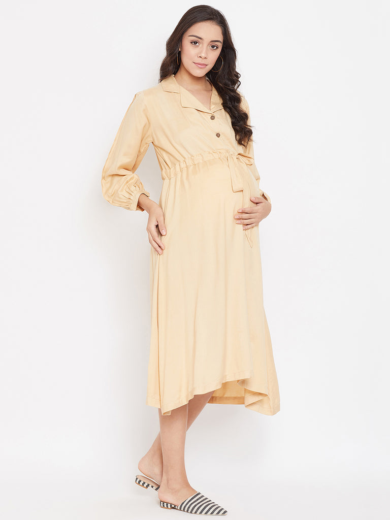 BEIGE BEAUTY MATERNITY KAFTAN DRESS WITH NURSING PLACKET