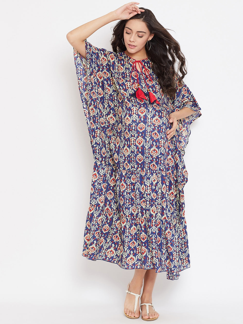 INDIGO BLUE MATERNITY KAFTAN DRESS