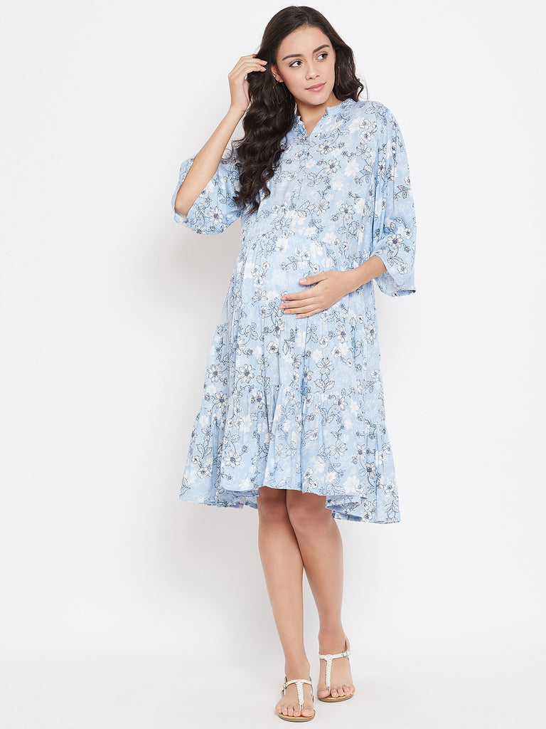 CYAN BLOOMS MATERNITY KAFTAN DRESS WITH NURSING SLIT