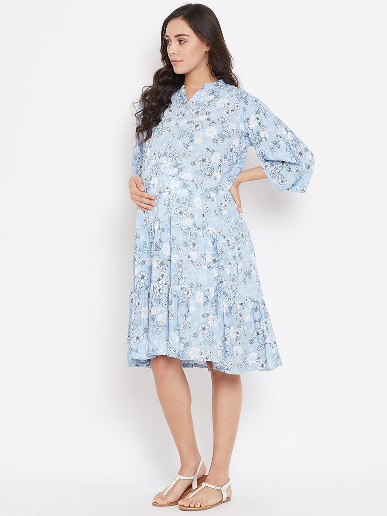 Women Blue  White Floral Print Maternity Dress