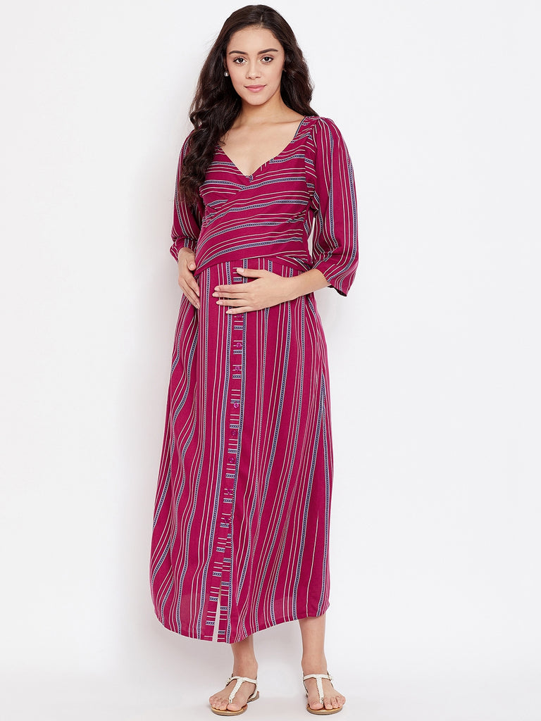 STRIPE HYPE MATERNITY KAFTAN DRESS WITH NURSING SLIT