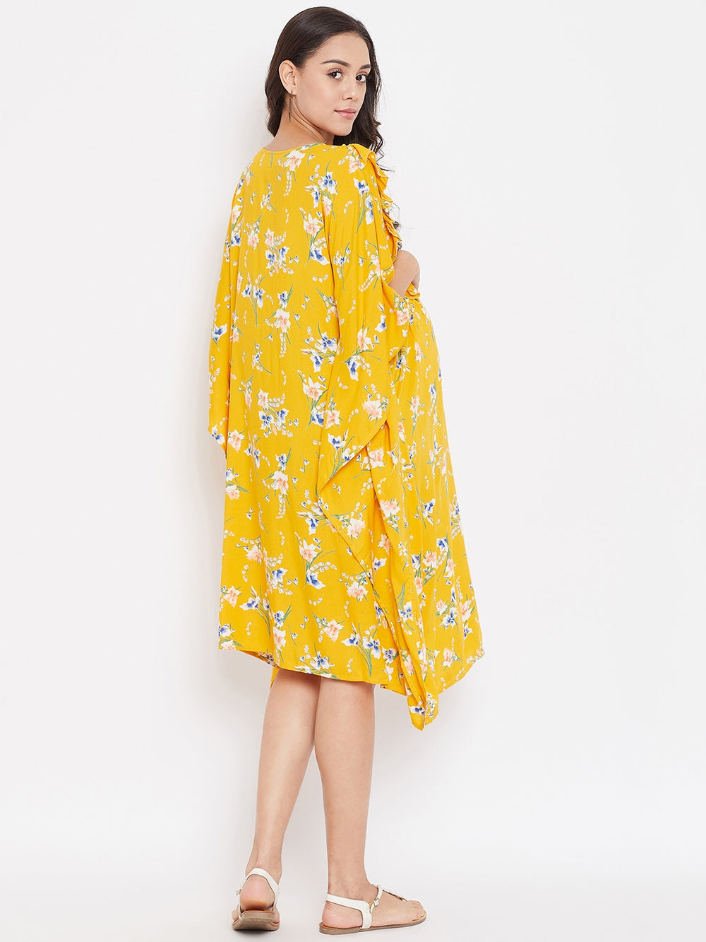 DAFFODIL BLOOMS MATERNITY KAFTAN DRESS WITH NURSING SLIT