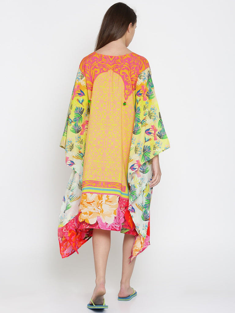Yellow Floral Digital Printed Resort Kaftan