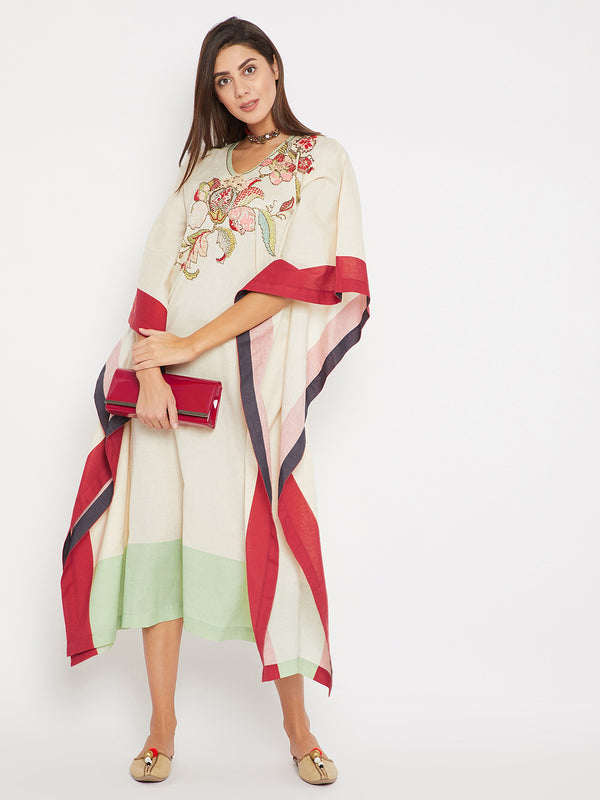 Floral Embroidery Maxi Kaftan
