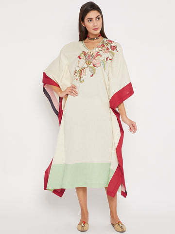 The Kaftan Company Off-White Blended Round Neck Embellished Three-Quarter Palampore Embroidery Maxi Kaftan For Women
