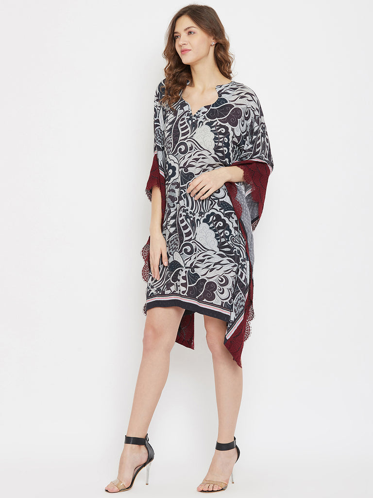 Exotic Doodles Black Knee Length Kaftan Dress