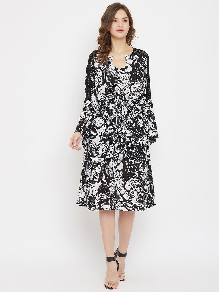Bold Blooms Printed Black Knee Length Dress