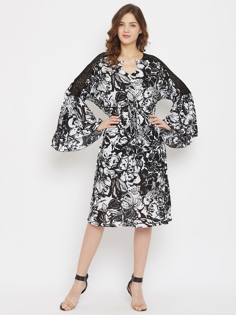 Bold Blooms Printed Black Knee Length Dress with Lace Yoke and Waist Tie-up