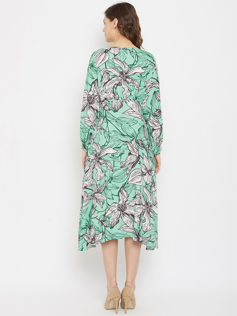 Mint Lillies Printed Knee Length Dress