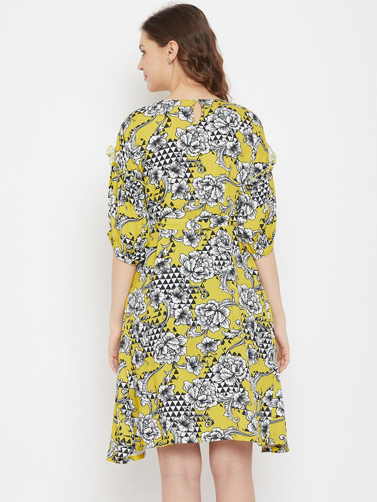 Geometric Floral Mustard Knee Length Dress