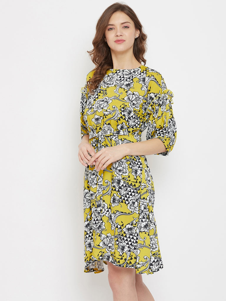 Geometric Floral Mustard Knee Length Dress with Puff Sleeves and Waist Belt