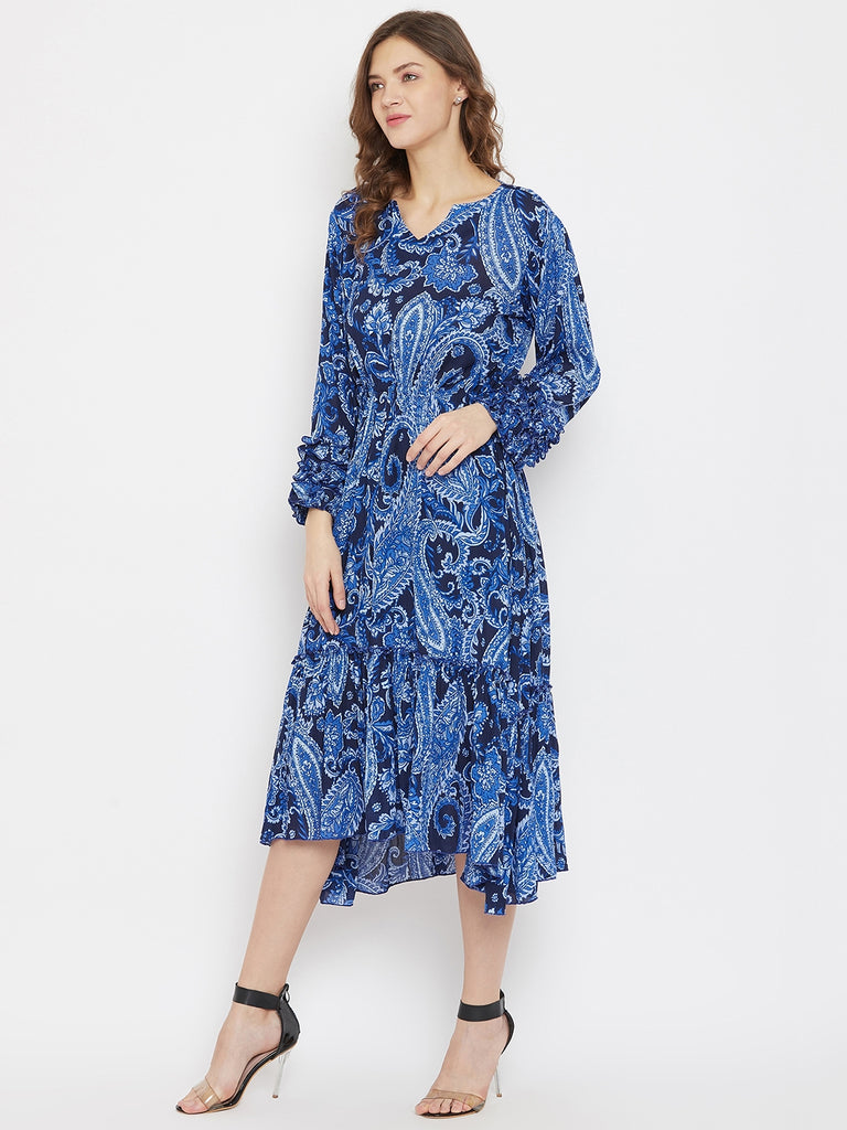 Cobalt Blue Paisleys Knee Length Dress with Ruffles at Sleeves and Hem