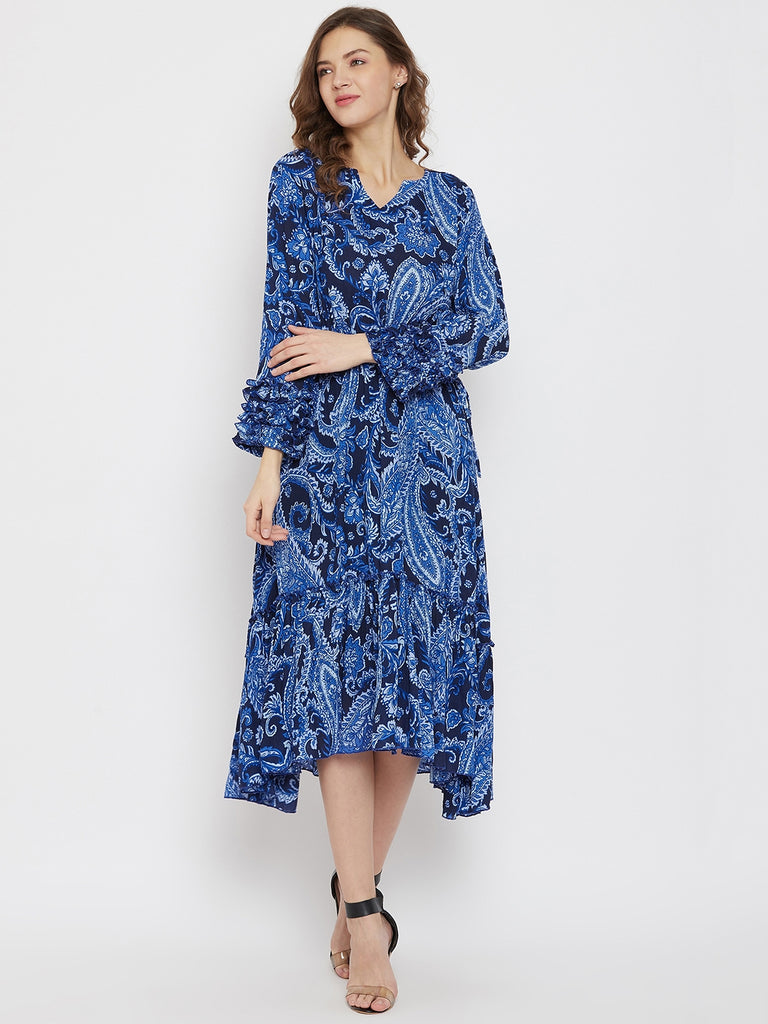 Cobalt Blue Paisleys Knee Length Dress
