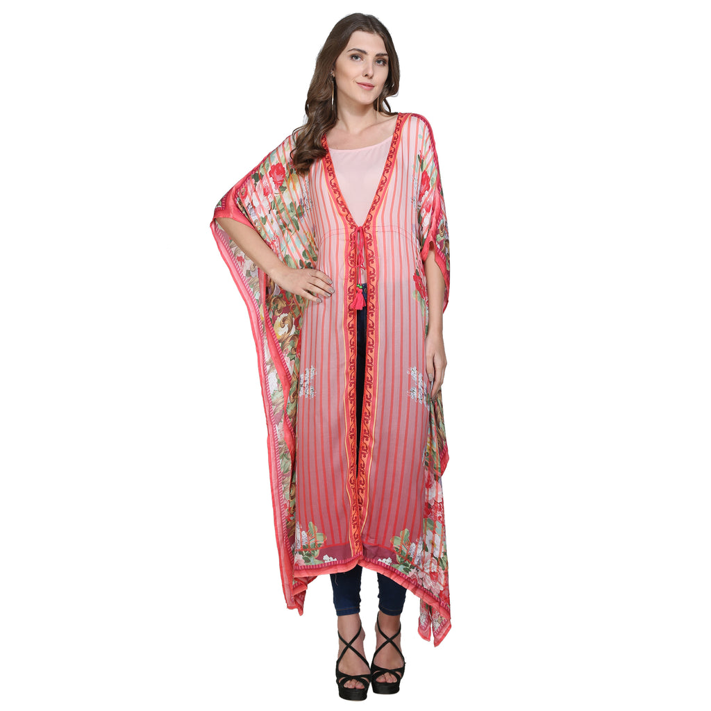 Rose Print Kaftan Shrug