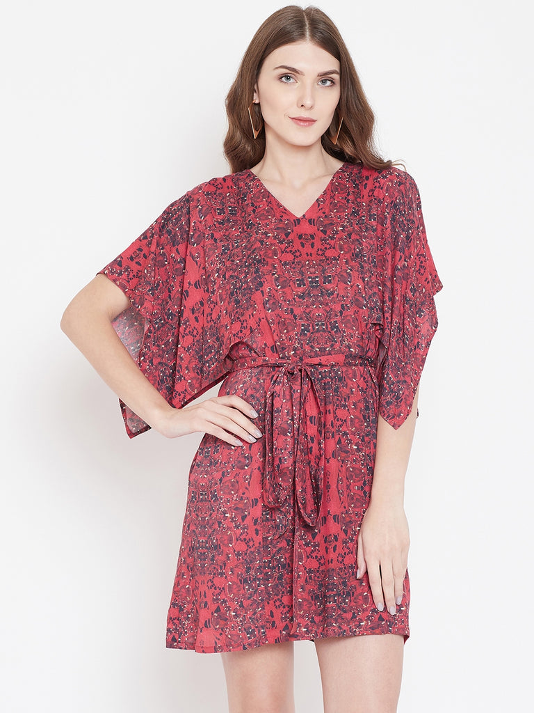 LACED ROUGE KAFTAN DRESS