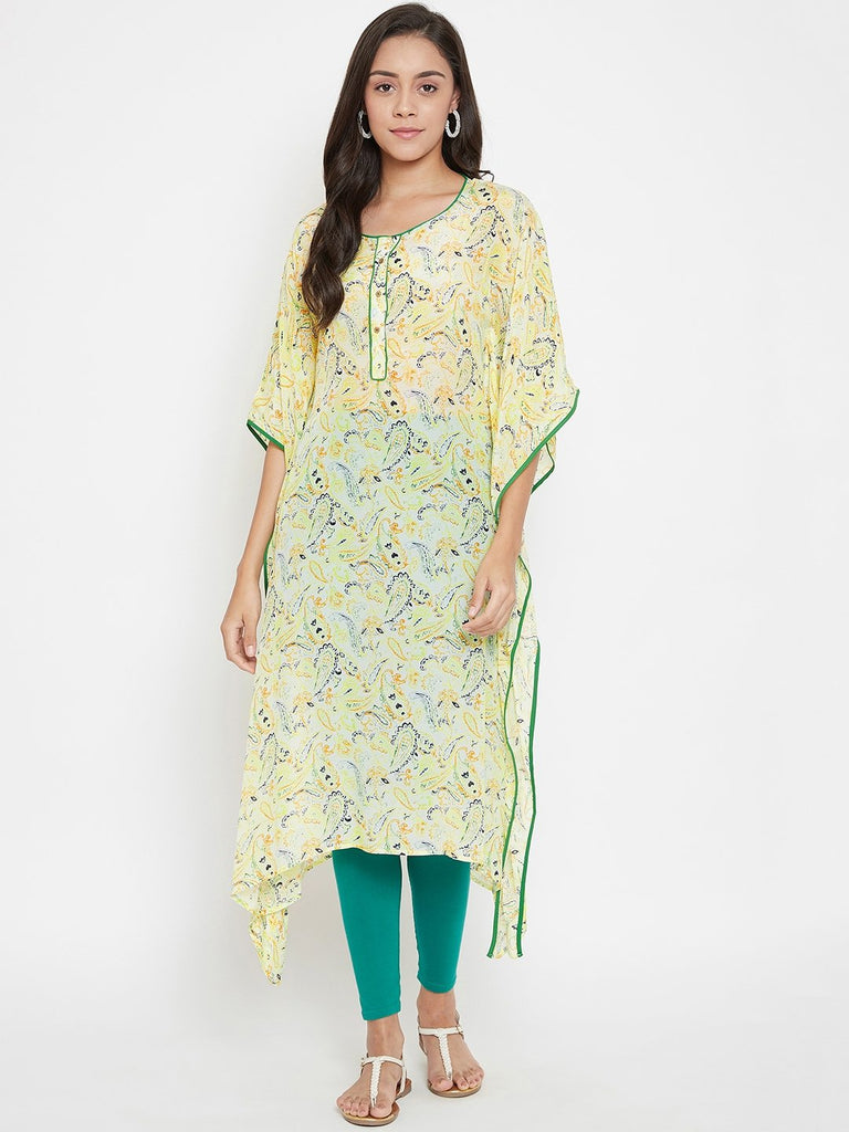 Women Green Woven Design Kaftan Kurta