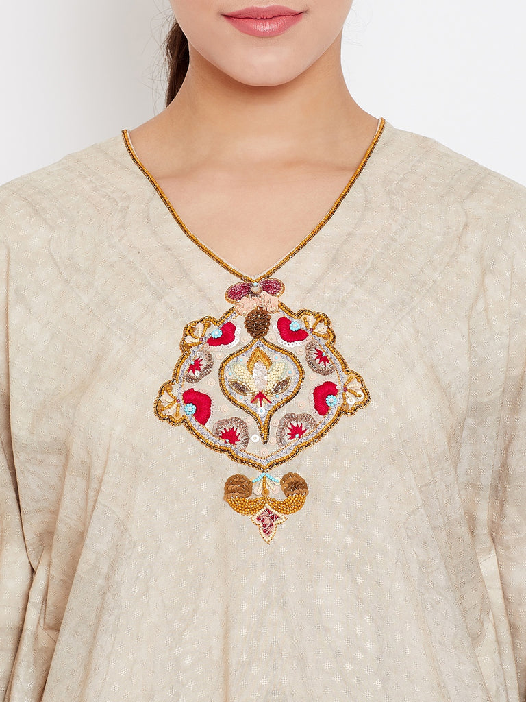MARBLE GRACE EMBROIDERED KAFTAN KURTA