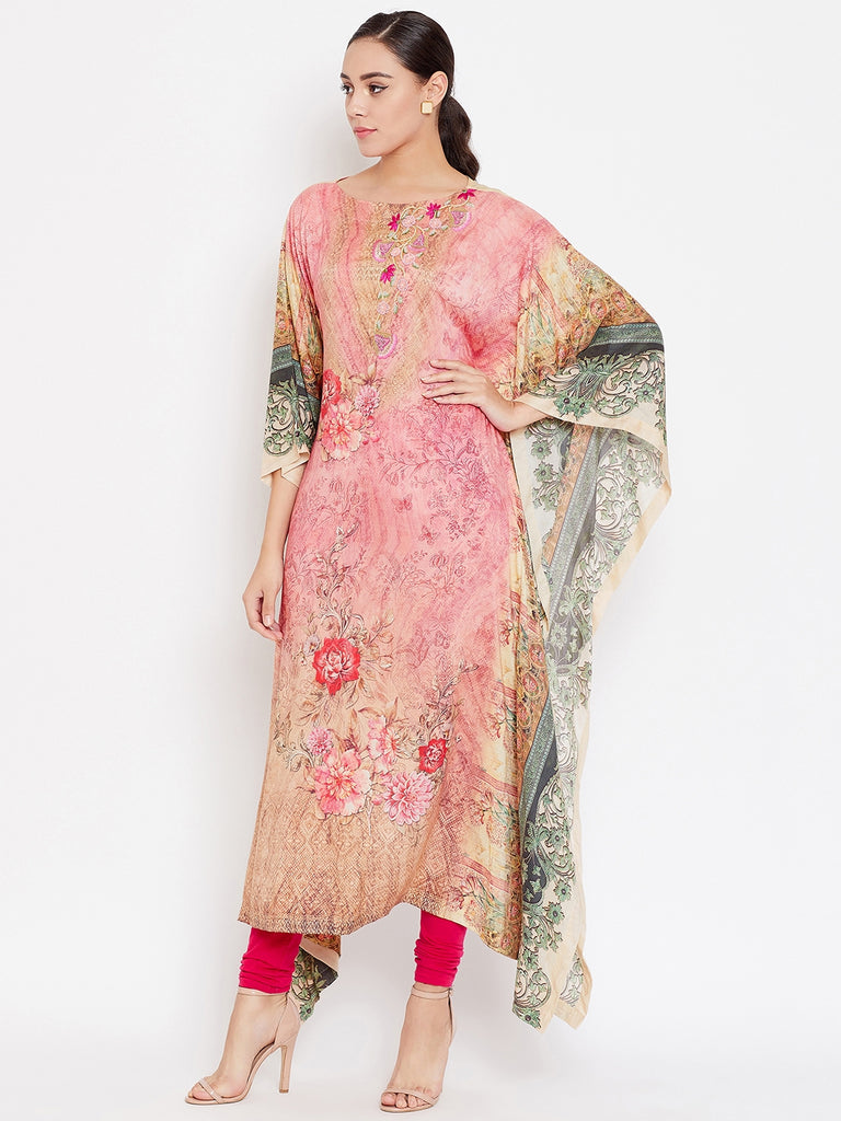 BLUSHED PINK EMBROIDERED KAFTAN KURTA