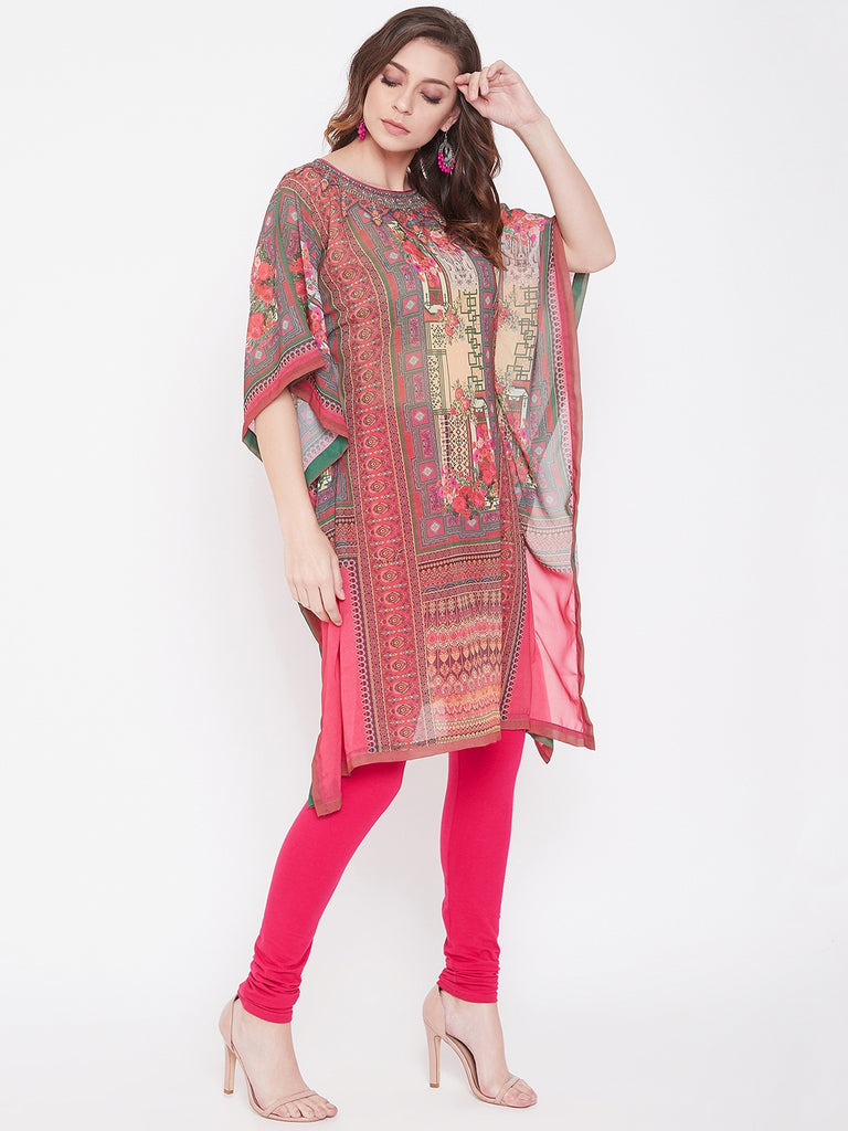 Placement Print Pink Georgette Kaftan