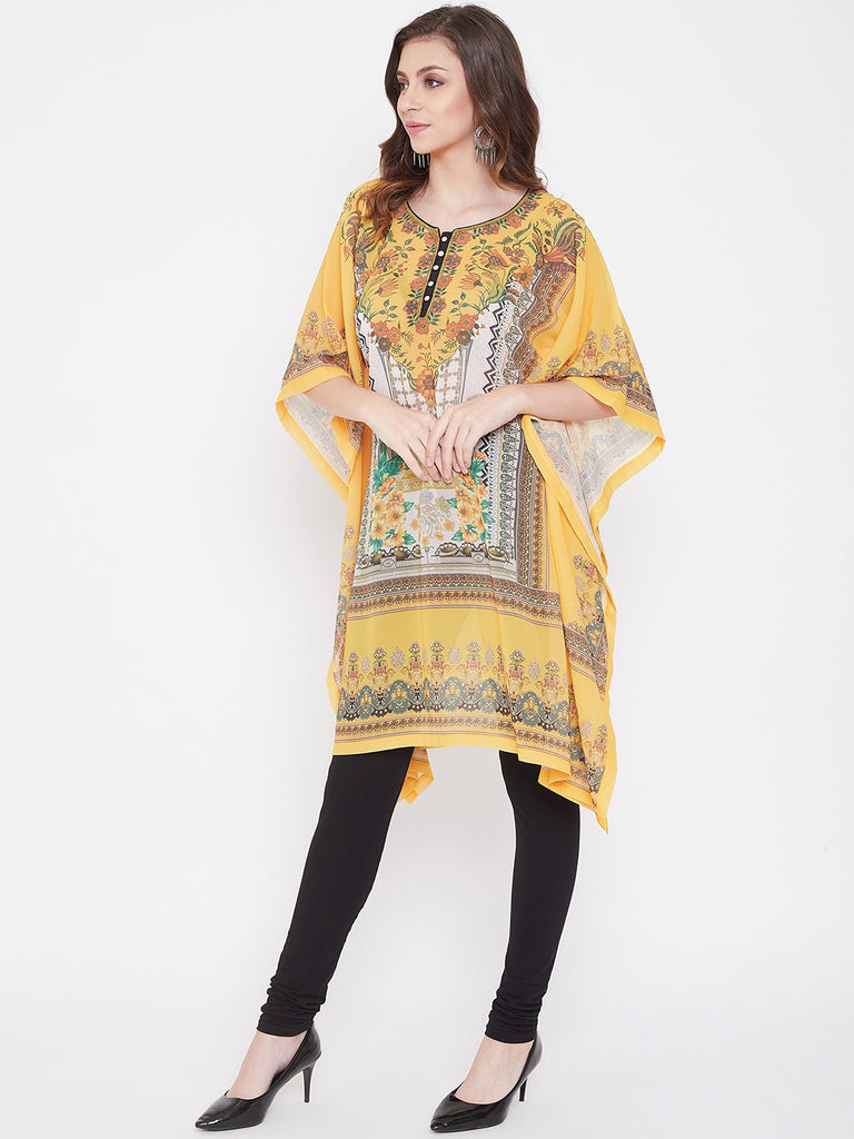 Placement Print Yellow Georgette Kaftan