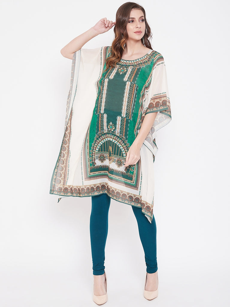Placement Print Emerald Georgette Kaftan