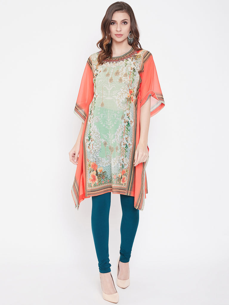 Coral Jeweled Beauty Georgette Kaftan