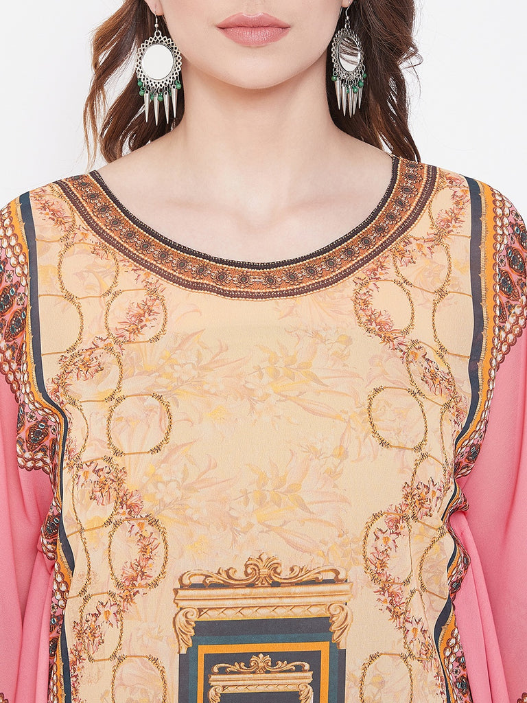 Pastel Pink Placement Print Georgette Kaftan