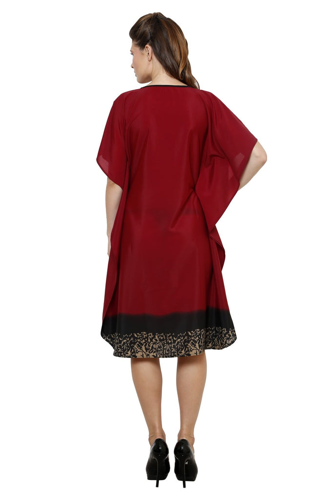 Maroon Kaftan with French Knotted Embroidery