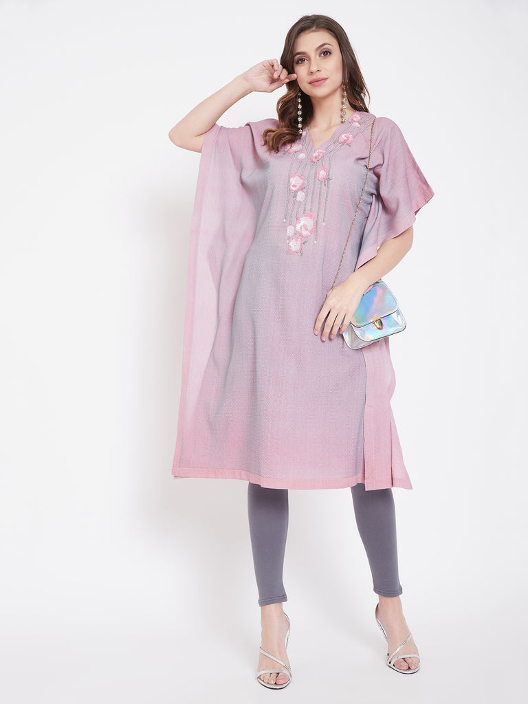 Sequins Embroidery Pink Jacquard Silk Kaftan
