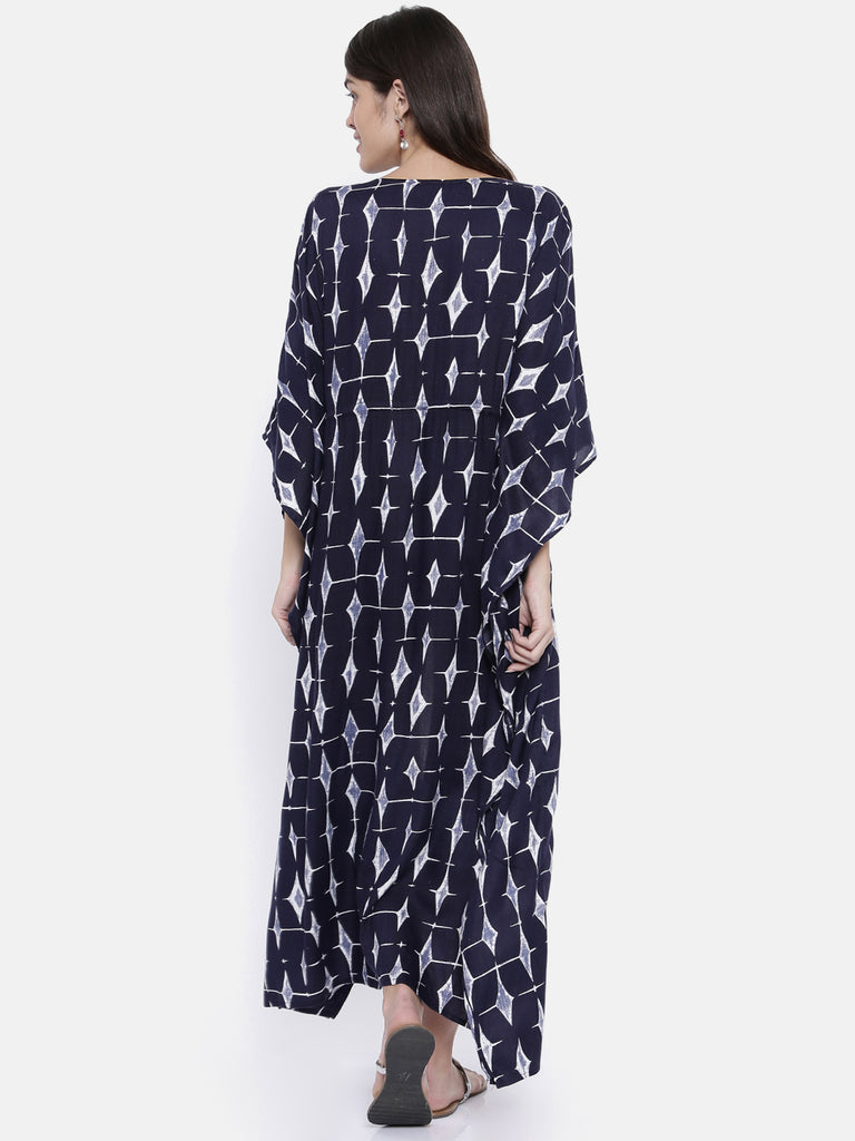 Indigo Trapezoid Front Slit Dress