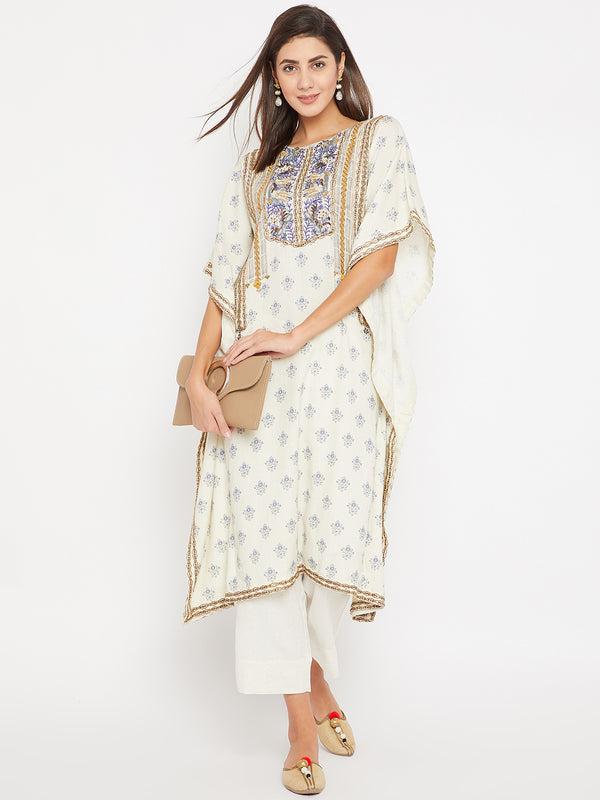 Blue Buti Print Embroidery Kaftan and Pant Set