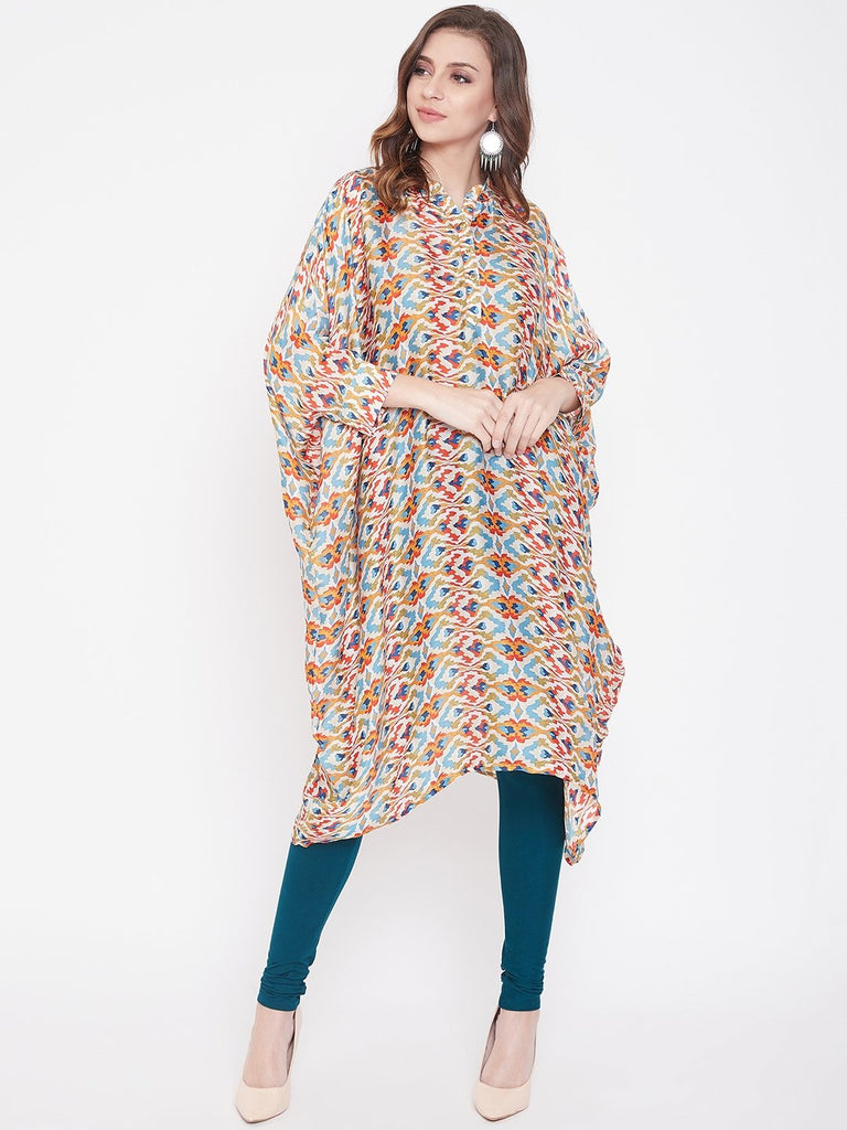 Color Splash Viscose Satin Kaftan Kurta