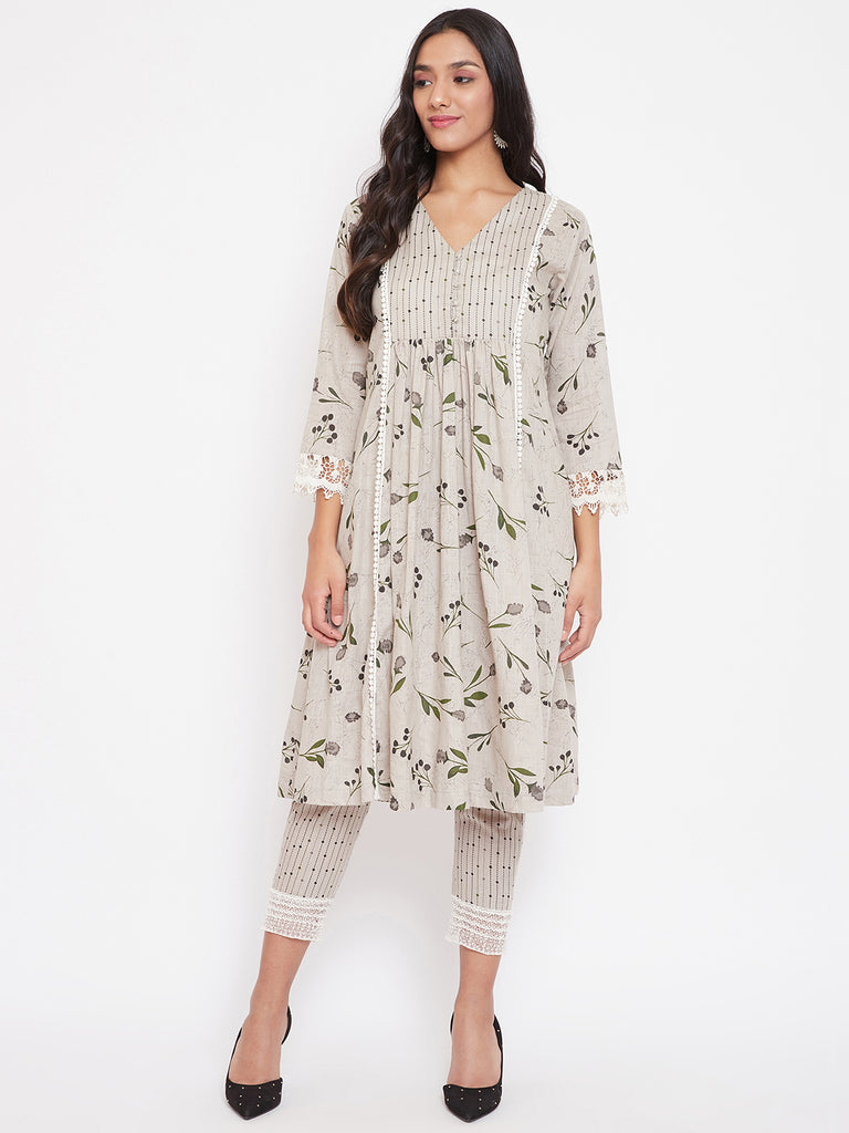 Grey Floral Printed Cotton Kurta and Pant Set, fusion wear suit set, malhar.