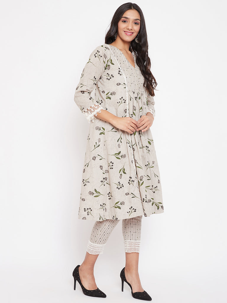 Grey Floral Printed Cotton Kurta and Pant Set
