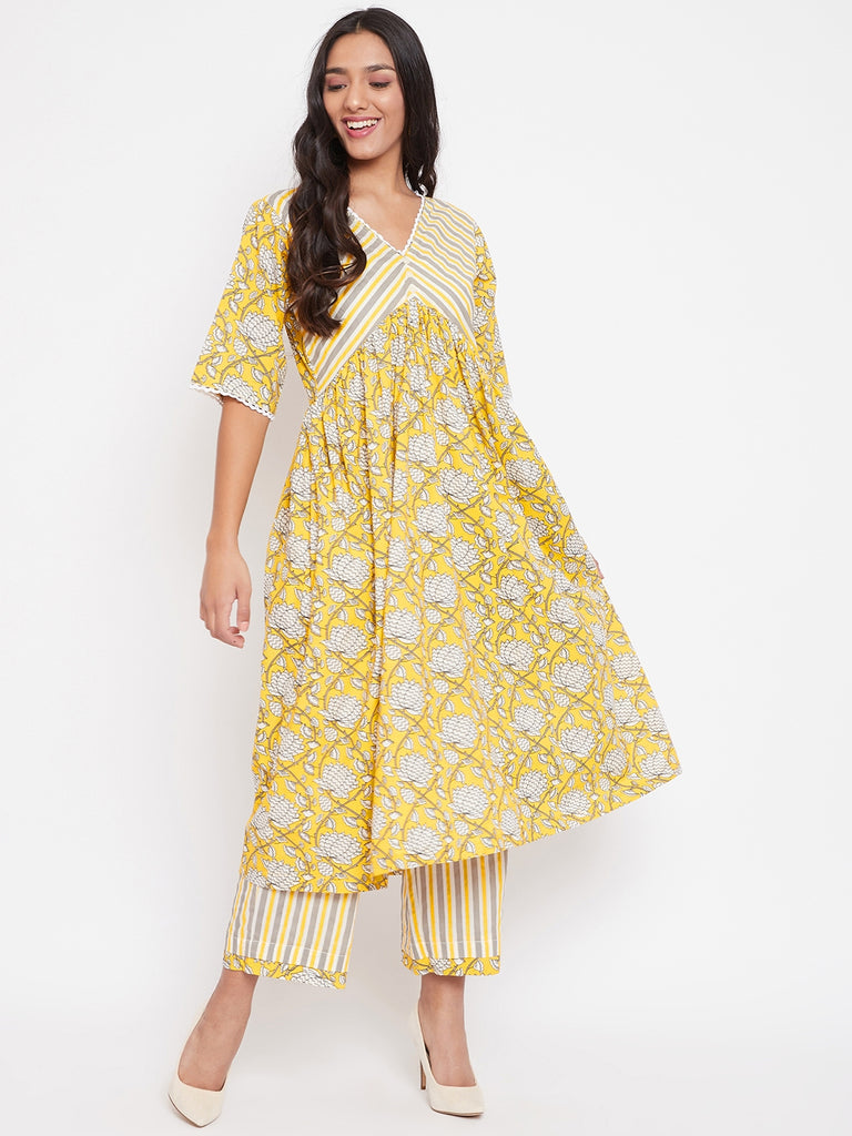 Yellow and Grey Floral Printed Kurta and Pant Set, fusion wear suit set, malhar.