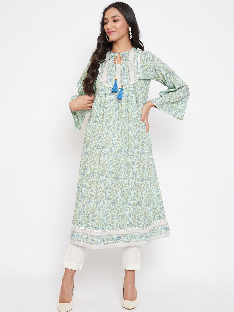 Mint Floral Printed Cotton Kurta and Pant Set, Fusion Wear Collection Mixed and Matched for you!