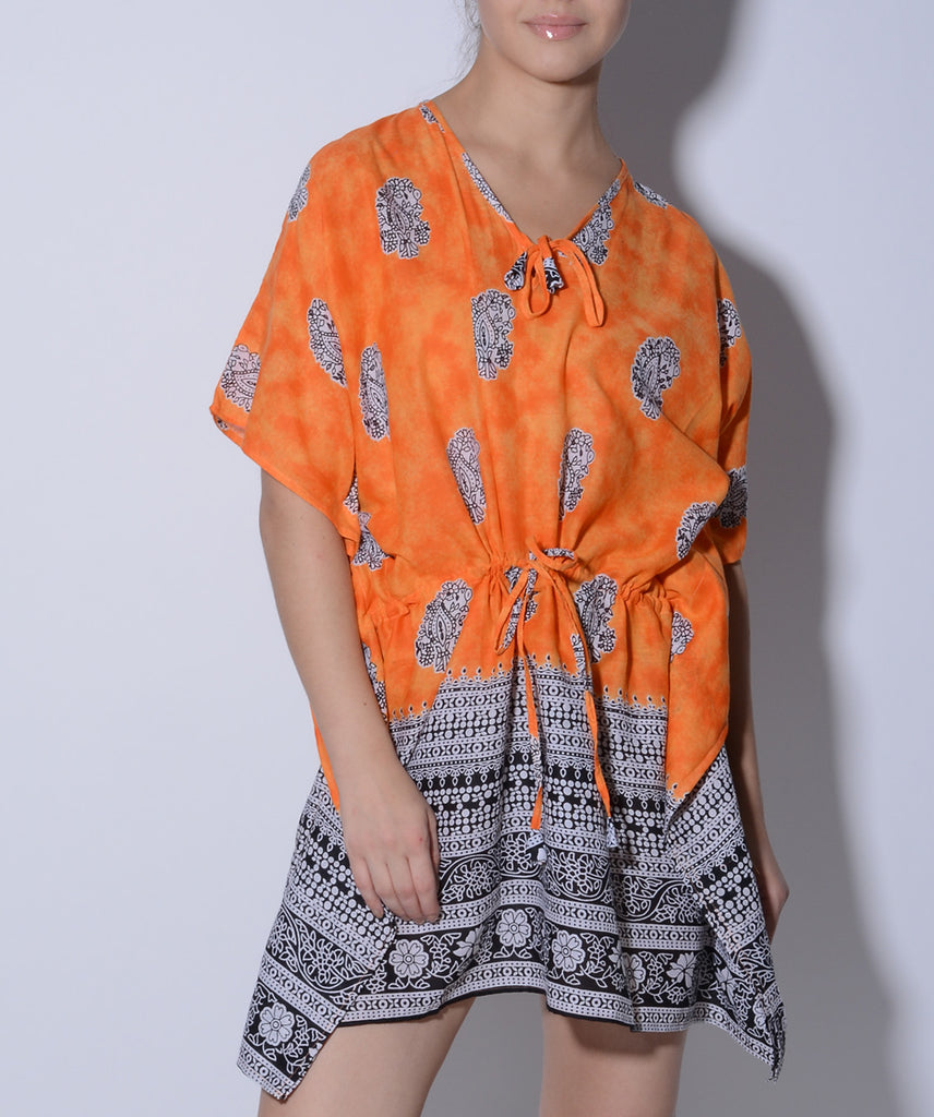 Orange Printed Cotton Kaftan