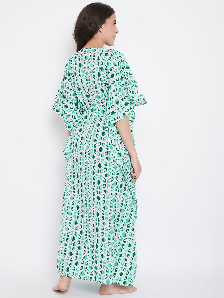 Green Striped Batik Hand Block Kaftan