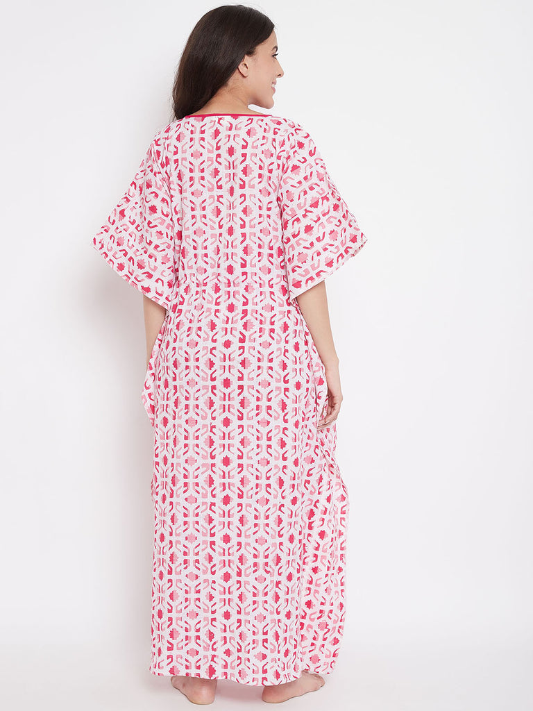 Pink Striped Batik Hand Block Maternity Kaftan