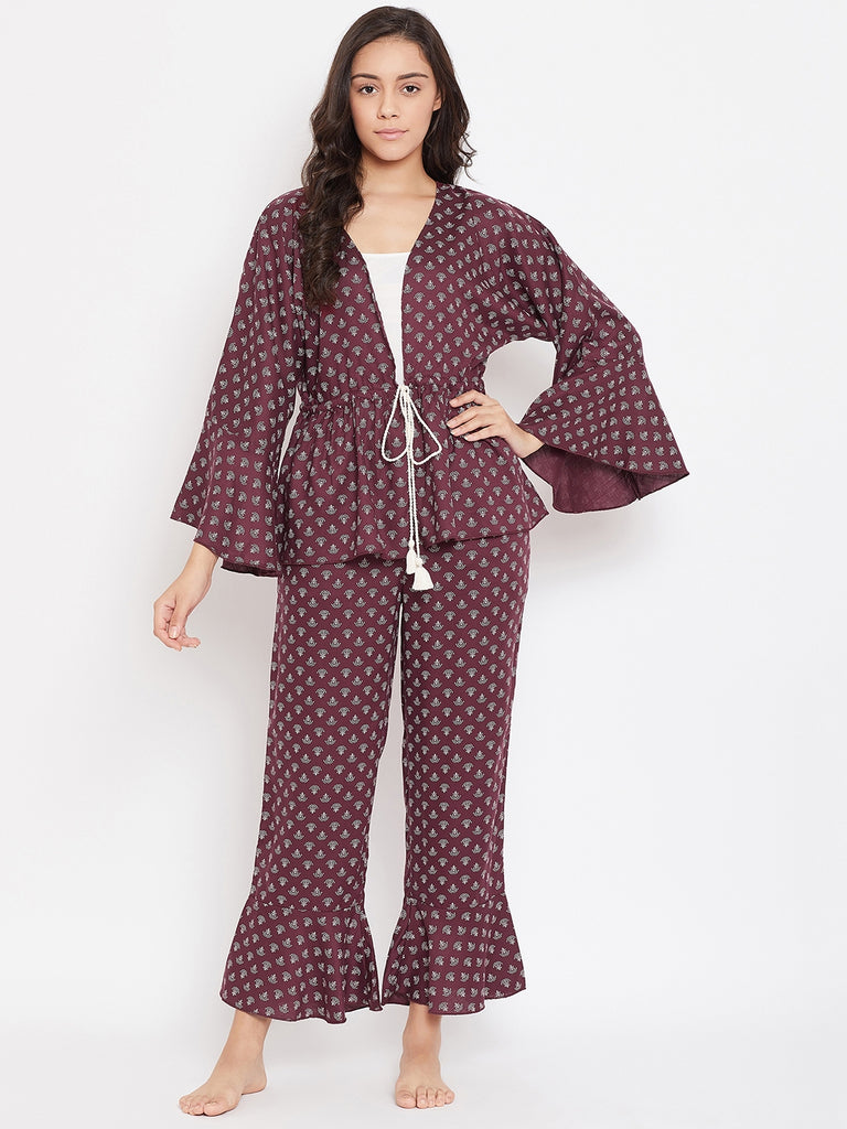 MAROON PRINTED PYJAMA SET WITH SLIP
