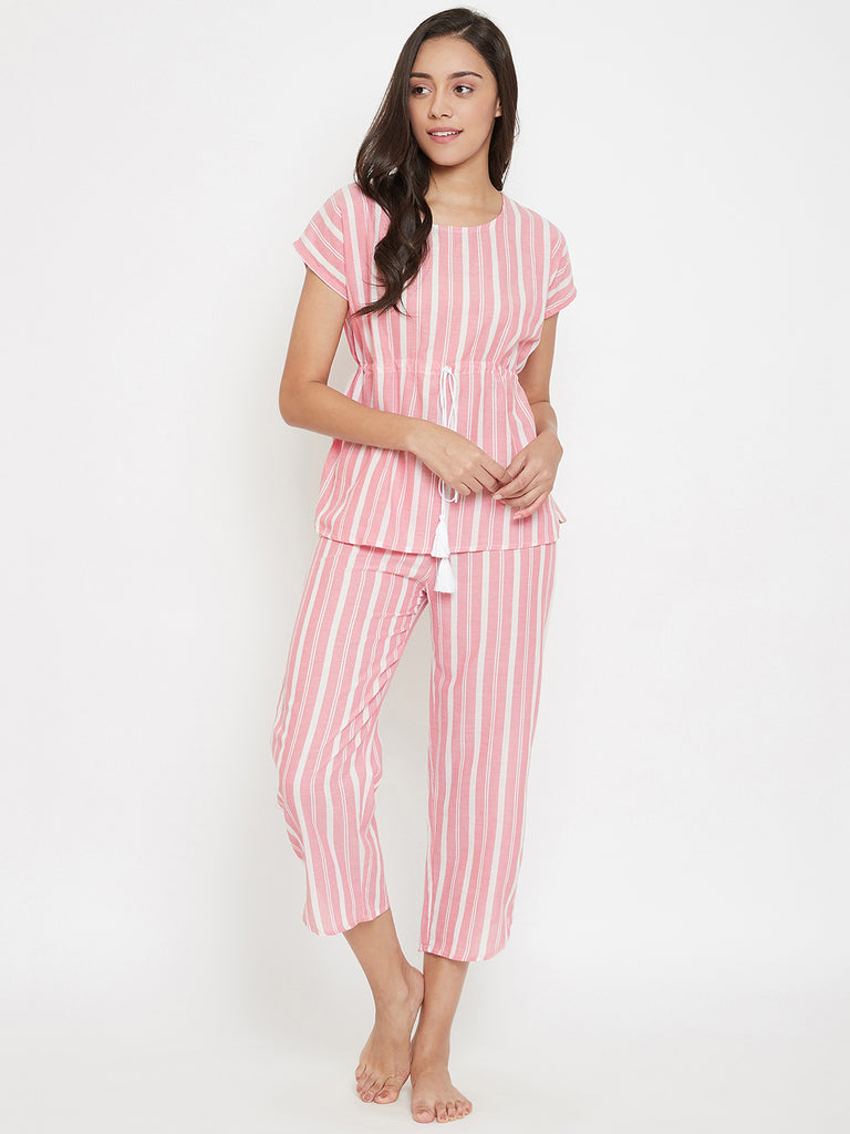 Peach Stripes Kaftan Pyjama Set
