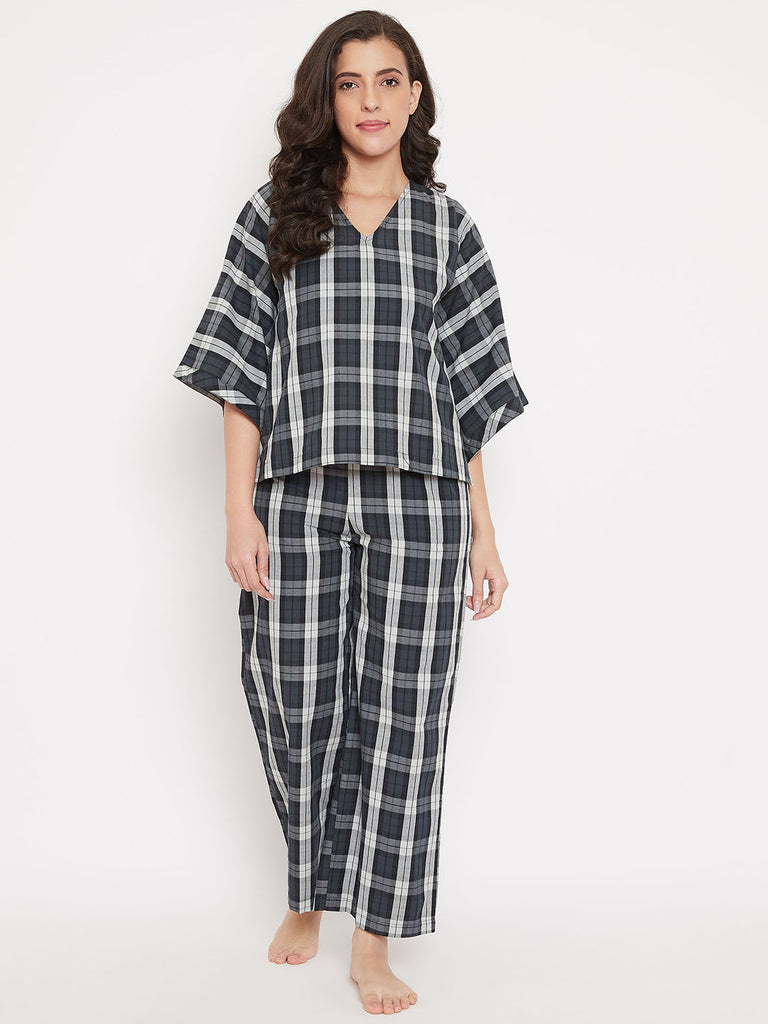 Charcoal Plaid Cotton Pyjama Set