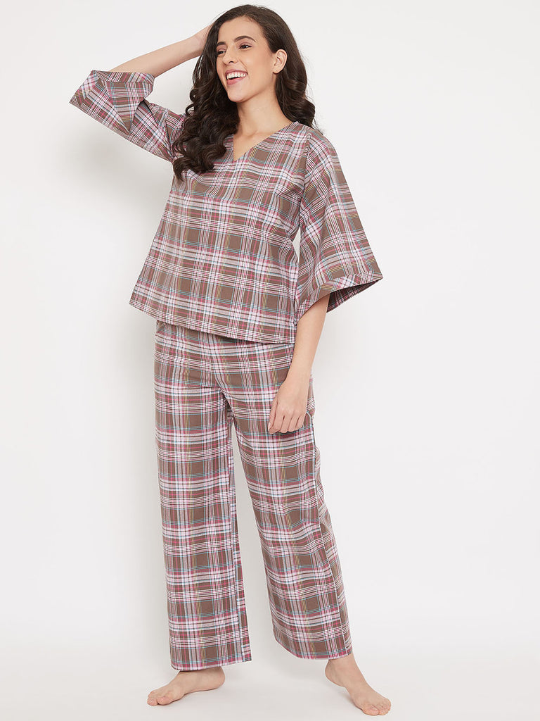 Chocolate Plaid Cotton Pyjama Set